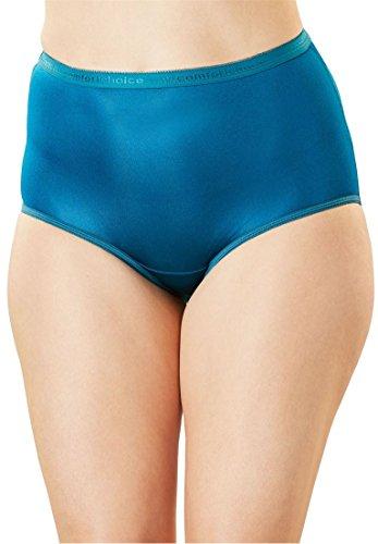 Comfort Choice Womens Plus Size 10-Pack Nylon Full-Cut Brief