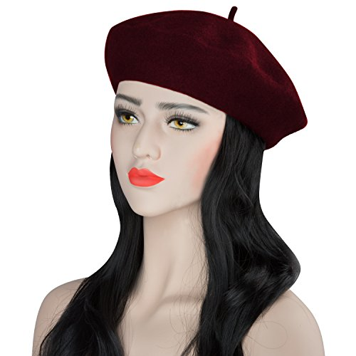 Acecharming Womens French Style Beret Wool Beanie Hat Cap(Thick, Burgundy)
