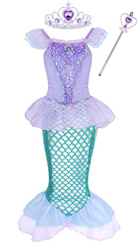 Jurebecia Mermaid Costume for Girls Ariel Dress Hallloween Dress up Birthday Outfit Size -