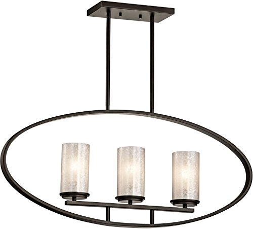 Kichler Lighting 43318OZ Berra 3LT Linear Pendant, Olde Bronze Finish and White Art Glass Shades