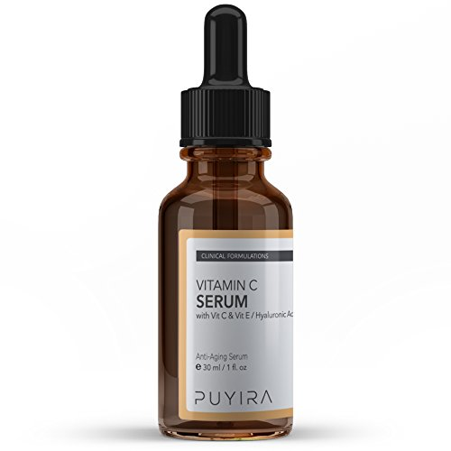 PUYIRA Vitamin C Serum With Hyaluronic Acid- Top Rated 1 fl. oz Anti-Wrinkle, Anti-Aging Skin Care-Best Anti-Aging Serum With Vitamin C For Dark Circles, Age Spots, Wrinkles, Sun Damage Repair