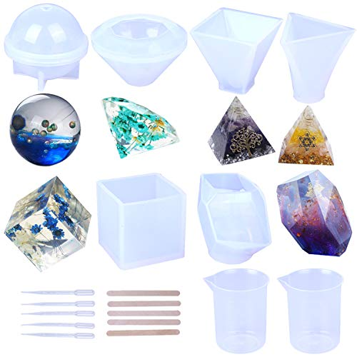 Candle Making Mold - Resin Casting Molds, Large Clear Silicone Epoxy Resin Molds Includs Pyramid/Diamond/Cubic/Stone Shape/Sphere/Triangular Pyramid for DIY Jewelry Craft Making, with Mixing Cups and Sticks(6 Pack)