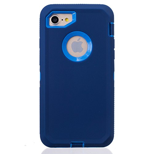 """For iPhone 8 & 7 case, Chanroy Body Armor Heavy Duty Dirtproof Shockproof Hybrid Defender Case for iPhone 8& 7 case 4.7""""(Navy Blue on Blue)"""