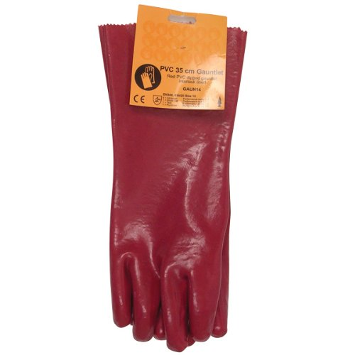 2 Pairs Red PVC Gauntlet Gloves, 35cm length for optimum Forearm Protection, Waterproof, Heavy Oil and Chemical Handling Applications. JSP