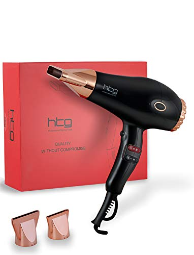 HTG Infrared Hair Dryer Ionic Blow Dryer 1875w AC Motor Hair dryer for Salon Use Infrared Tech Ion Negative Make Hair Shinny No Firzzy Compact Hair Dryer HT039 Black