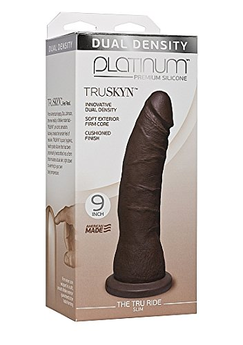 Doc Johnson Novelties Truskyn Feel Real Tru Ride 9 Inches Slim Dildo, Chocolate by Doc Johnson Novelties (Image #1)