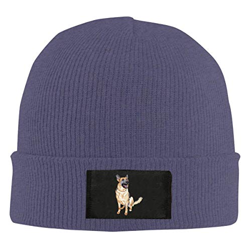 - Mens Womens Beanie Cap Watch Hat Winter Warm Knit Skull Hat Cap with German Shepherd Dog Printed Black