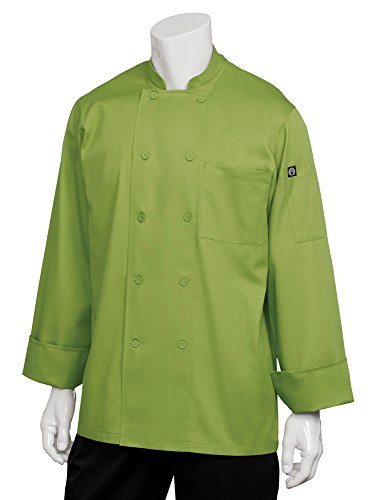 Chef Works Men's Genova Chef Coat, Lime Green, Large by Chef Works