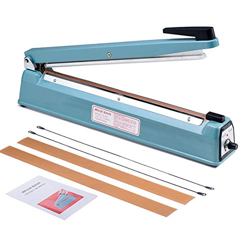 Metronic 16inch/400mm Manual Impulse Manual Hand Sealer Heat Sealing Machine Poly Tubing Plastic Bag with 2 Replacement Kit Blue (Bag Machine Sealer)