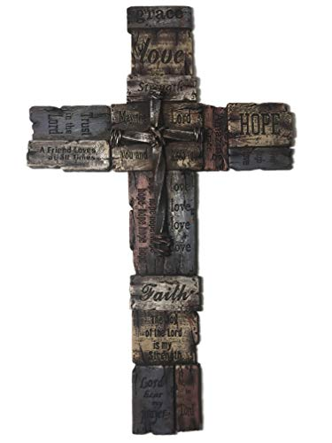 Polly House Faith 18 inches Love, Hope, Trust The Lord Wall Cross, Great for Home Decor or Gift]()