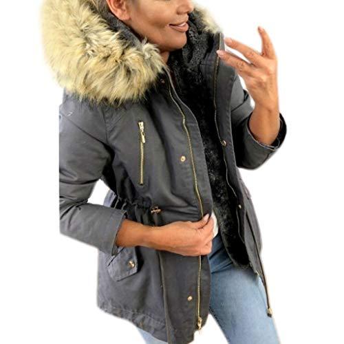 StyleV-shirts Womens Faux Fur Hooded Zipper Jacket Coat Trendy Winter Warm Outwear with Pocket (Fur Rabbit 3/4 Genuine Coat)