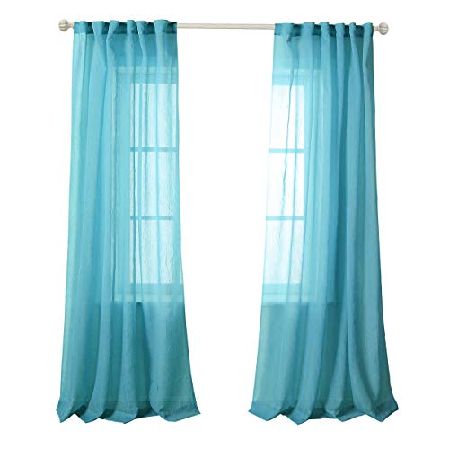 MYSKY HOME Back Tab and Rod Pocket Window Crushed Voile Sheer Curtains, Teal, 51 x 84 Inch, Set of 2 Crinkle Sheer Curtain Panels
