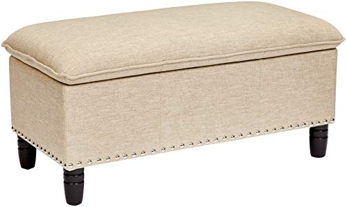 First Hill Rectangular Pillow Top Storage Ottoman Bench, Natural G2003-6 Nature Linen For Sale