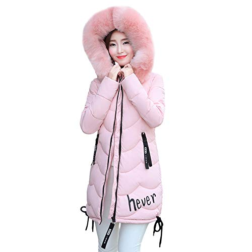 Limsea Women Coat Jacket Outwear Slim Winter Warm Thick Fur Collar Solid Color Hooded Parka XXX-Large Pink -