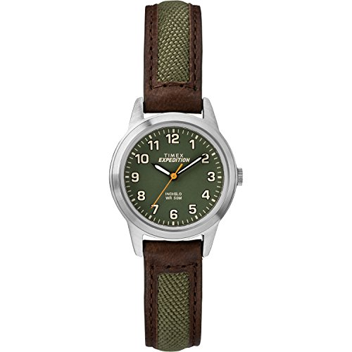 Timex Women's TW4B12000 Expedition Field Mini Brown/Green Nylon/Leather Strap Watch