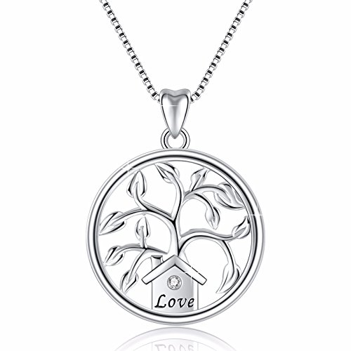 Angemiel 925 Sterling Silver Fimaly Tree Vintage Pendant Necklace, Box Chain 18