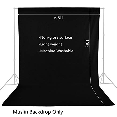 Photography Photo Studio Muslin Backdrop Background 6.5x10 ft Non-Woven Fabric Black Screen for Video and Television by MOUNTDOG-Black