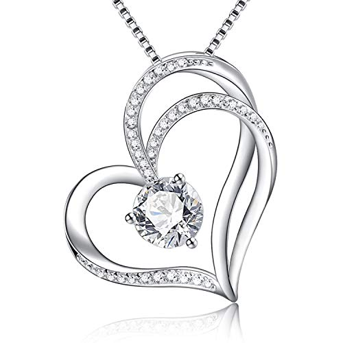 Klurent Forget-Me-Not Love Heart Pendant Necklace 5A Cubic Zirconia for Women Girlfriend Wife on Birthday Anniversary, 14K White Gold Plated