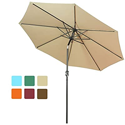 FARLAN Patio Umbrella 9 Ft Outdoor Table Aluminum offset market umbrellas with Push Button Tilt and Crank (9 Ft, Beige) -  - shades-parasols, patio-furniture, patio - 4188W9zN2gL. SS400  -
