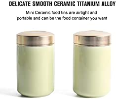 Beige 1, 2PC//5OZ CONTEANER Porcelain Tea Tins Canister set with Airtight Lids Home Kitchen Canisters for Tea Coffee Sugar Storage Loose Leaf Tea Tin Containers storage