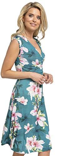 Zeta Col Fleurs avec sans en 256z Robe Ville D't Manches Vert Robe Robe des Femmes V Patineuse pRpwrq