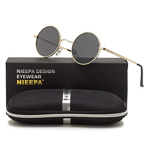 NIEEPA John Lennon Vintage Round Polarized Hippie Sunglasses Small Circle Metal Driving Sun Glasses (Grey Lens/Gold Frame)