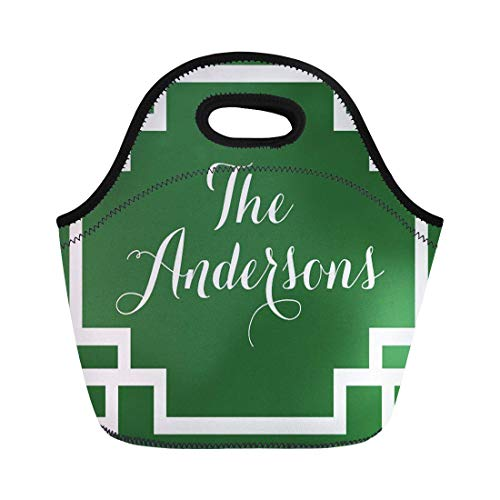 Lunch bag Monogrammed Dark Green and Greek Key Monogram Custom neoprene lunch bag lunchbox tote bag portable picnic bag cooler bag (Mini Monograms Hip)