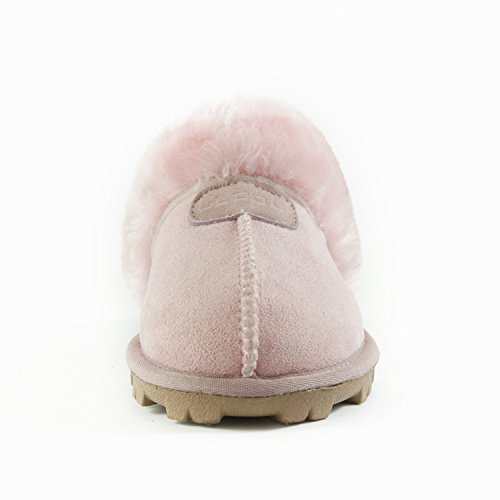 Clppli Womens Slip On Faux Fur Warm Winter Mules Morbide Pantofole Scamosciate In Camoscio Rosa