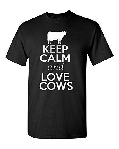 Keep Calm and Love Cows Adult T-Shirt Tee