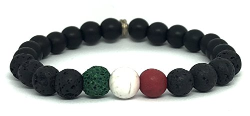 RHEA Soccer Team Color Volcanic Lava Bead Stone Essential Oil Diffuser Bracelets Stretch 3 Gem Onyx Set Authentic Aromatherapy Stones for Women and Men (Mexico Green White Red, 8) -