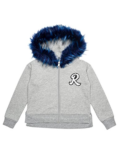 Replay Girls Grey Hoodie With Print And Faux Fur in Size 14 Years Grey by Replay