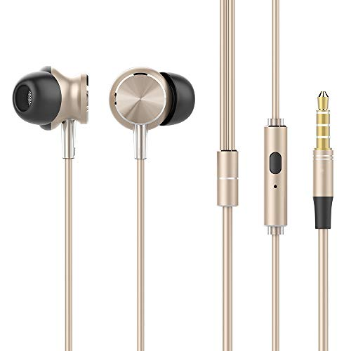 Festnight UiiSii GT500 in-Ear Metal Earphones Bass HiFi Stereo 3.5mm with Mic Headset Earplugs for iPhone Xiaomi PC Android