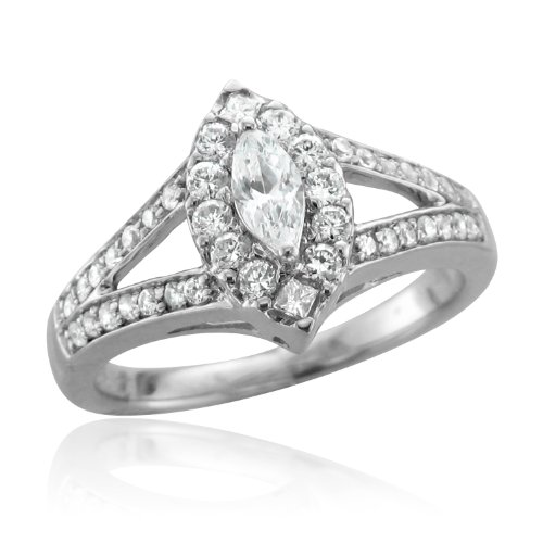 10k White Gold Marquise Diamond Engagement Ring Band (HI, I, 0.33 carat)