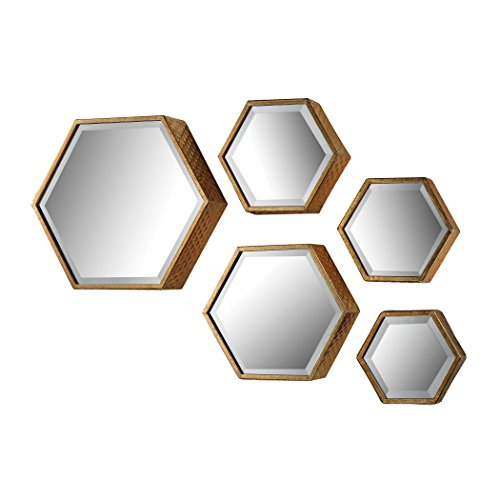 - Hamptons Collection Hexagonal Beveled Mirror - Set of 5