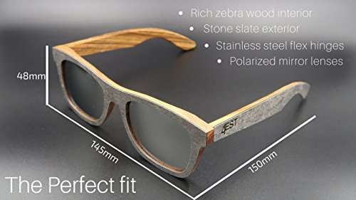 f05b1e08362 Amazon.com  4EST Shades Stone Wood sunglasses - Polarized lenses in a one  of a kind frame  Clothing