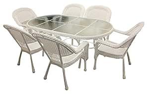 7 piezas blanco diseño cilíndrico de mimbre resina juego de utensilios para comer - 6 sillas y mesa de comedor 1