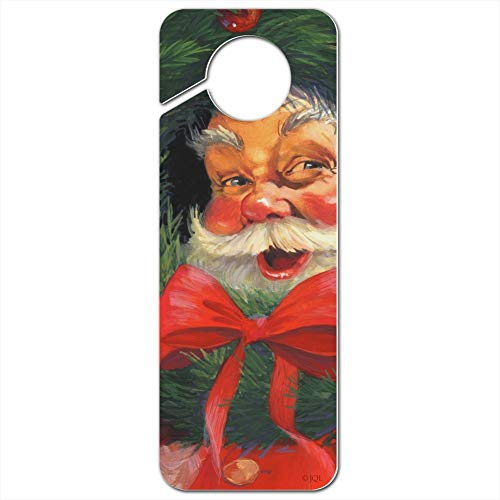 GRAPHICS & MORE Christmas Holiday Santa Claus Wreath Plastic Door Knob Hanger Sign - Image