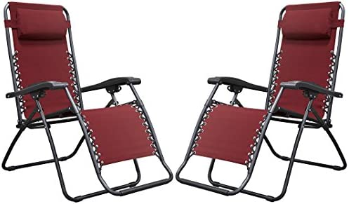 Naomi Home Zero Gravity Chairs, Lounge Patio Outdoor Recliner Chairs Red Set of 2