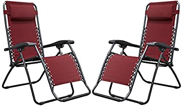Naomi Home Zero Gravity Lounge Patio Outdoor Recliner Chairs Red Set of 2