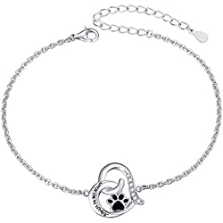 925 Sterling Silver Engraved Always In My Heart Cat Puppy Paw Print Heart Bracelet for Women Teen Girls Pet Lover, 7 + 2 inch