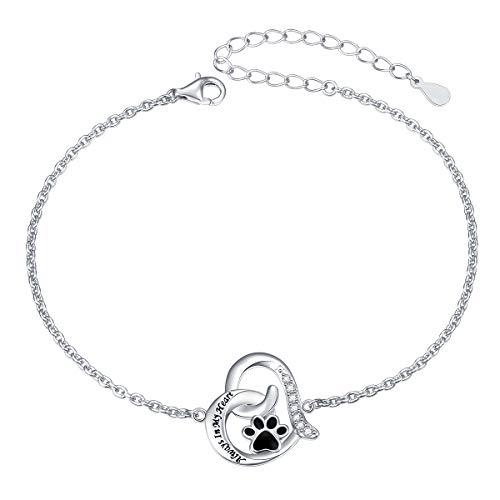 925 Sterling Silver Engraved Always in My Heart Cat Puppy Paw Print Heart Bracelet for Women Girls Pet Lover, 7 + 2 inch