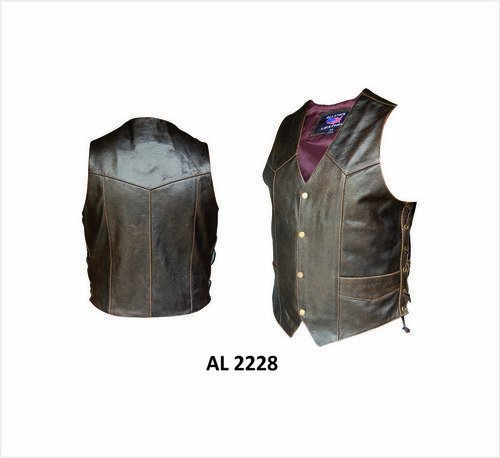 Mens Motorcycle Retro Brown Leather Vest w/ Side Laces - AL-2228-60 (Retro Brown Vest Side Laces)