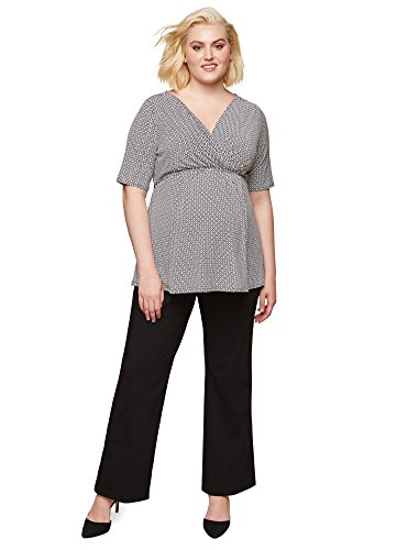 Motherhood Maternity Women's Maternity Plus-Size Super Stretch Secret Fit Belly Boot Cut Work Pant, Black, 2X by Motherhood Maternity