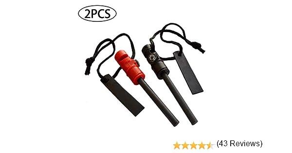 GCOA 2 PCS Iniciador de Fuego - Herramienta multifunción de Supervivencia 3 en 1 - Barra de Arranque de magnesio, brújula magnética y Silbato de Emergencia para Acampar al Aire Libre Kits: