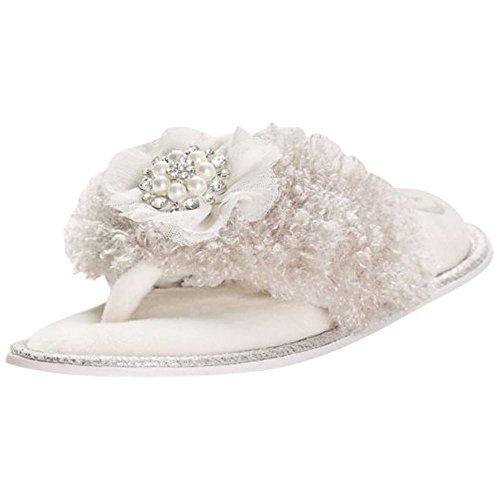 Slippers Satin Bridal (David's Bridal Embellished Faux-Fur Thong Slippers Style Orla, Mink, XL)