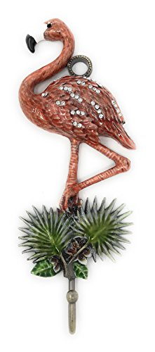 Bejeweled and Enameled Pewter Pink Flamingo Wall Hook, With Austrian Crystals, 7.75H