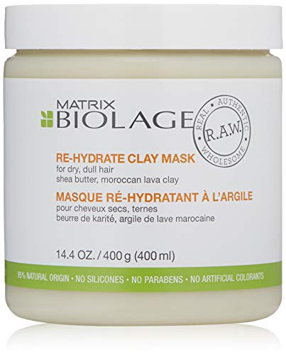 BIOLAGE R.A.W. Re-hydrate Hair Mask for Dry, Dull Hair with Shea Butter and Moroccan Lava Clay, 14.4 oz ()