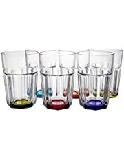 Parent Listing for Highball Rocks Clear Drinking Glass with Multi-Colored Size Variation