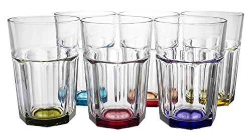 Highball Beverage (Rainbow Colored Thick Glass Water/Beverage Highball Drinking Glasses 6-Piece Set, 12.25 Ounce)