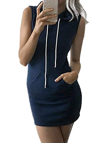 - Joeoy Women's Navy Sleeveless Drawstring Hooded Sweat Dress